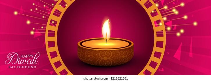 Happy diwali diya oil lamp festival header design