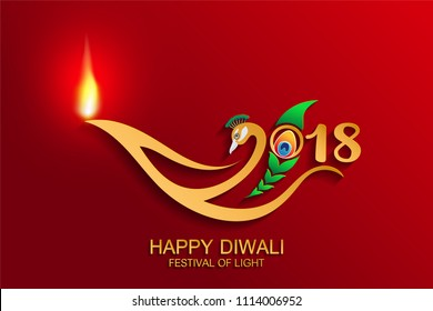 Happy Diwali festival 2018 logo with gold diya patterned and Peacock, feathers  paper cut art craft style on color Background.