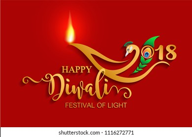 Happy Diwali festival 2018 logo with gold diya patterned and Peacock, feathers on color Background.