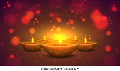 Happy Diwali Festival. 3d Indian oil lamps with floral mandala on blurred background. Bokeh effect with glitter and shining. Poster, banner, greeting card design template. Vector Illustration.