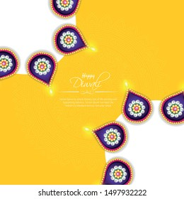 Happy Diwali festival background with diya lamps and rangoli, Diwali celebration greeting card, vector illustration.