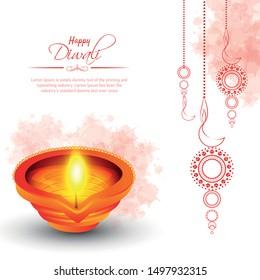 Happy Diwali festival background with diya lamps and rangoli, Diwali celebration greeting card, vector illustration.