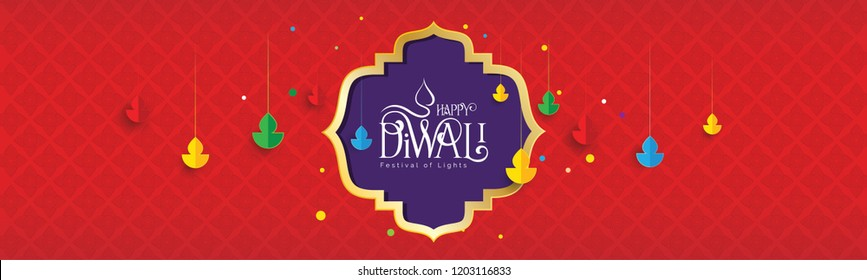 Happy Diwali Festival Banner Design Template with Lamps on Red Patterned Background