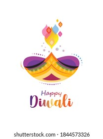 Happy Diwali festival banner.Traditional and colorful lamp vector isolated.