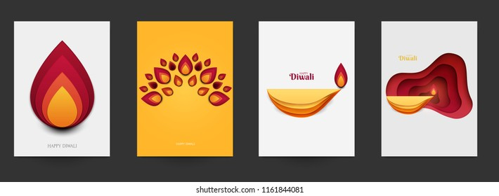 Happy Diwali festival beautiful design template. Minimal composition in paper cut style. Set holiday background for branding greeting card, banner, cover, flyer or poster. Vector illustration.