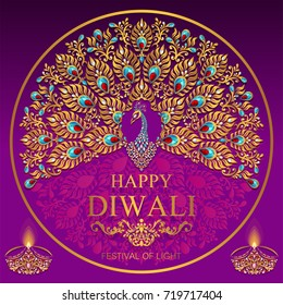 Happy Diwali festival card with gold peacock patterned and crystals on paper color.
