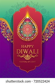 Happy Diwali festival card with gold patterned and crystals on paper color.