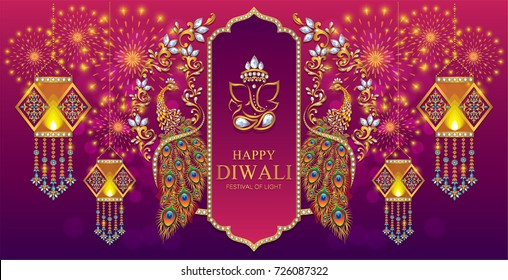 Happy Diwali festival card with gold diya patterned and crystals on paper color.