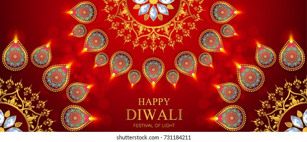 Happy Diwali festival card with gold diya patterned and crystals on background color.