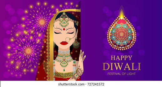 Happy Diwali festival card with indian women traditional dress and henna hand on background color.