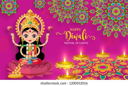 Happy Diwali festival card with modern elements  on paper color Background.