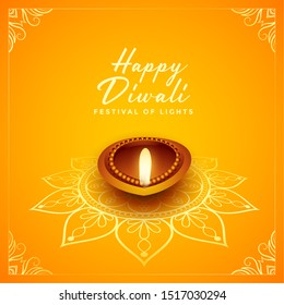 happy diwali festival design with oil lamp diya