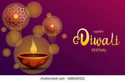 Happy Diwali festival / Light festival of India with colorful flowers on purple background