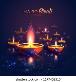 Happy Diwali festival of lights. Retro oil lamp on background night sky, Illustration in vector format.