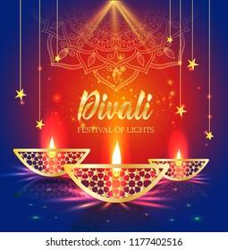 Happy Diwali festival of lights. Retro oil gold lamp on background night sky, Illustration in vector format.