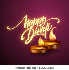 Happy Diwali festival of lights. Retro oil lamp on background night sky. Calligraphy hand lettering text. Vector illustration EPS10