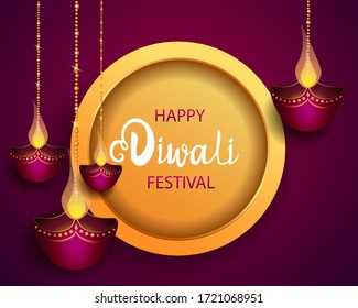 Happy Diwali Festival / Festival of lights / Vector illustration / greetings card, invitation, posters, brochure, calendar, flyers, banners