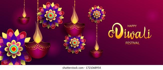 Happy Diwali Festival / Festival der Lichter / Vektorgrafik / Grußkarte, Einladung, Plakate, Broschüre, Kalender, Flyer, Banner