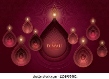 Happy Diwali festival with oil lamp, Diwali holiday Red Background with diya lamps and rangoli, Symbol of Diwali celebration greeting card, Gold Lanterns,  Hinduism art Style, Paper art vector