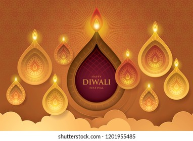 Happy Diwali festival with oil lamp, Diwali holiday Gold Background with diya lamps and rangoli, Symbol of Diwali celebration greeting card, Gold Lanterns,  Hinduism art Style, Paper art vector