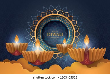 Happy Diwali festival with oil lamp, Diwali holiday Background with diya lamps and rangoli, Symbol of Diwali celebration greeting card, Gold Lanterns, Hinduism art Style, Paper art vector