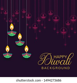 Happy Diwali Festival with Oil Lamp, Diwali Holiday Background