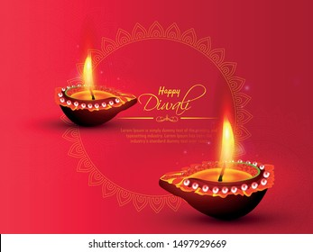 Happy Diwali festival with oil lamp, Diwali holiday Background with rangoli, Diwali celebration greeting card,vector.