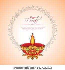 Happy Diwali festival with oil lamp, Diwali holiday Background with rangoli, Diwali celebration greeting card,vector.