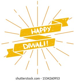 Happy diwali festival ribbon 2d flat illustration. Yellow banner with lines on white background