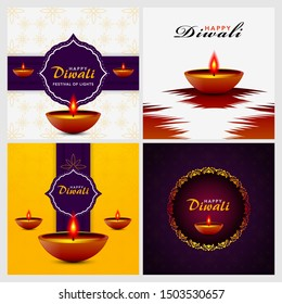 Happy diwali festival, Set template elegant vector for flyers, posters, banners, brochure, greeting cards, backgrounds. Beautiful design with paper cut style of Indian.