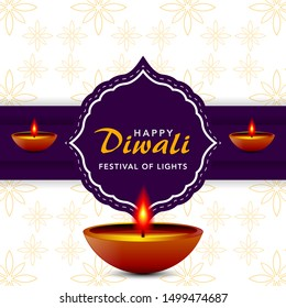 Happy diwali festival, template elegant vector for greeting card, banner, background. Beautiful design with paper cut style of Indian.