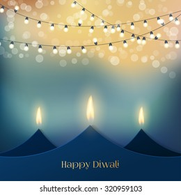 Happy Diwali festive background with stylized oil lamps made from paper. Happy Diwali Card. Vector illustration