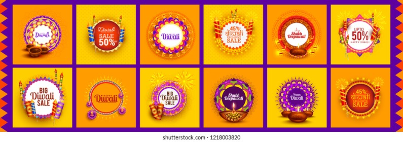 Happy Diwali Festive Design Template Set Background,Offer Banner,Sticker,Label,Cover,Greeting Card.Easy To Edit Vector Illustration.