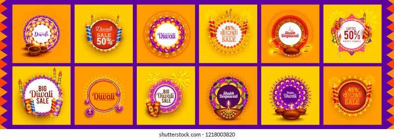 Happy Diwali Festive Design Template Set Background,Offer Banner,Sticker,Label,Cover,Greeting Card.Easy To Edit Vector Illustration.