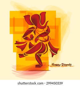 Happy Diwali with Ganesha watercolor painting style. Vecor. Epa10.