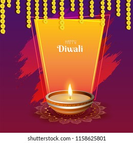 Happy Diwali greeting card design with illustration of illuminated oil lamp (Diya) on shiny brush stroke background decorated with floral garland (Toran).
