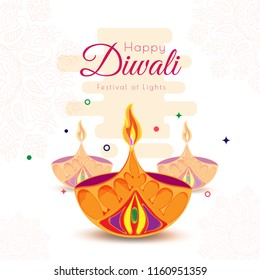 Happy Diwali greeting card design with paper cut oil lamps on abstract floral background for celebration of Festival Of Lights.
