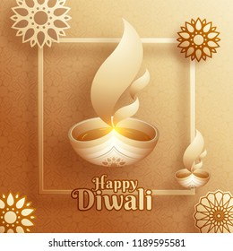 Happy Diwali greeting card design with illuminated oil lamp and decorative sticker style florals on glossy background.