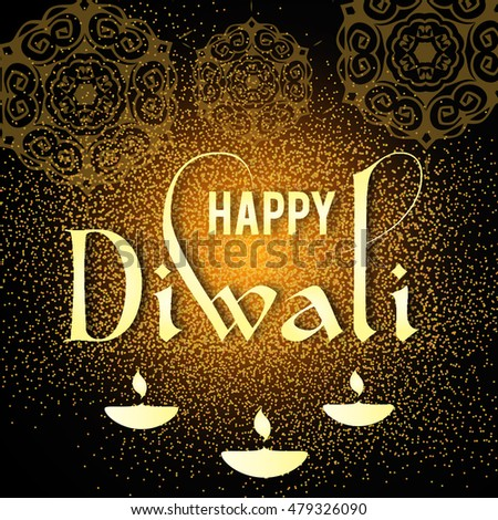 Happy Diwali Greeting Card Design Beautiful Stock Vector Royalty