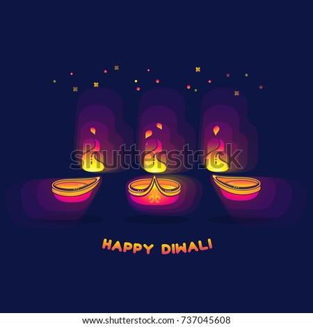 Happy diwali greeting card festival lights stock vector royalty happy diwali greeting card the festival of lights vector illustration diwali lamps bright m4hsunfo