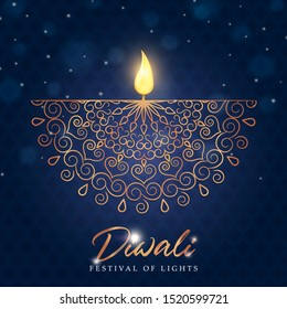 Happy Diwali greeting card of gold diya candle and elegant golden decoration for traditional indian festival celebration.