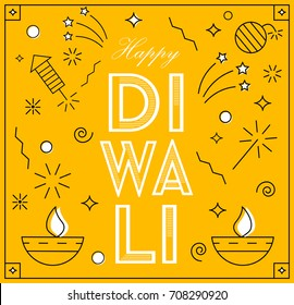 Happy diwali  greeting card in linear style with fireworks and petards,  indian festival celebration background