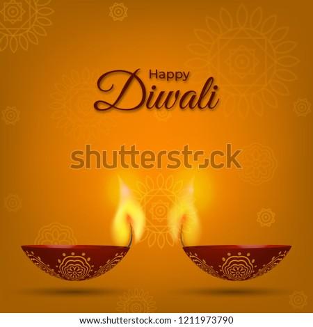 Happy Diwali Greeting Card Poster Wallpaper Stock Vector Royalty