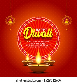 Happy Diwali Greetings Card Poster Design, Banner, Logo, Sticker, Concept, Template, Icon, Unit, Label, Web,  Mnemonic with Lamps on festive red background. Indian Festival of Light and Fire - Vector