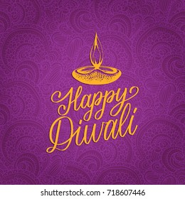 Happy Diwali hand lettering on abstract pattern background. Vector lamp illustration for Indian holiday greeting or invitation card, fest poster.