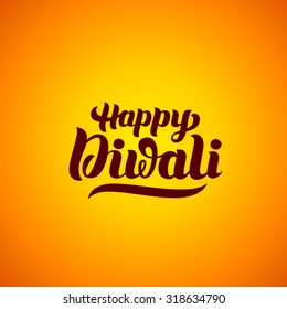 Happy Diwali hand-lettering. Indian Holiday. Festival greeting card. Handmade vector calligraphy background