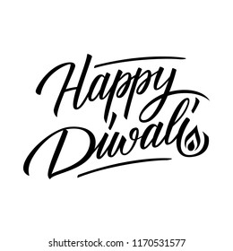 Happy Diwali handwritten inscription. India festival of lights celebrate card template. Creative typography for holiday greetings and invitations. Vector illustration.