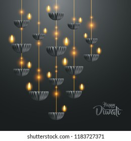 Happy Diwali. Hanging paper graphic of Diya lantern. Indian festival of lights.