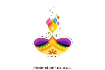 Happy Diwali Hindu festival banner, card. Burning diya illustration, background for light festival of India