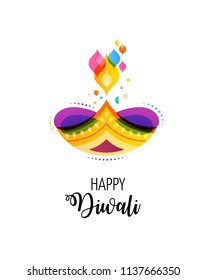 Happy Diwali Hindu festival banner, card. Burning diya illustration, background for light festival of India